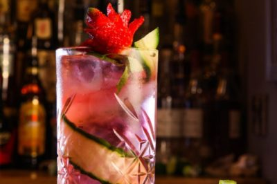Cucumber and Strawberry Collins